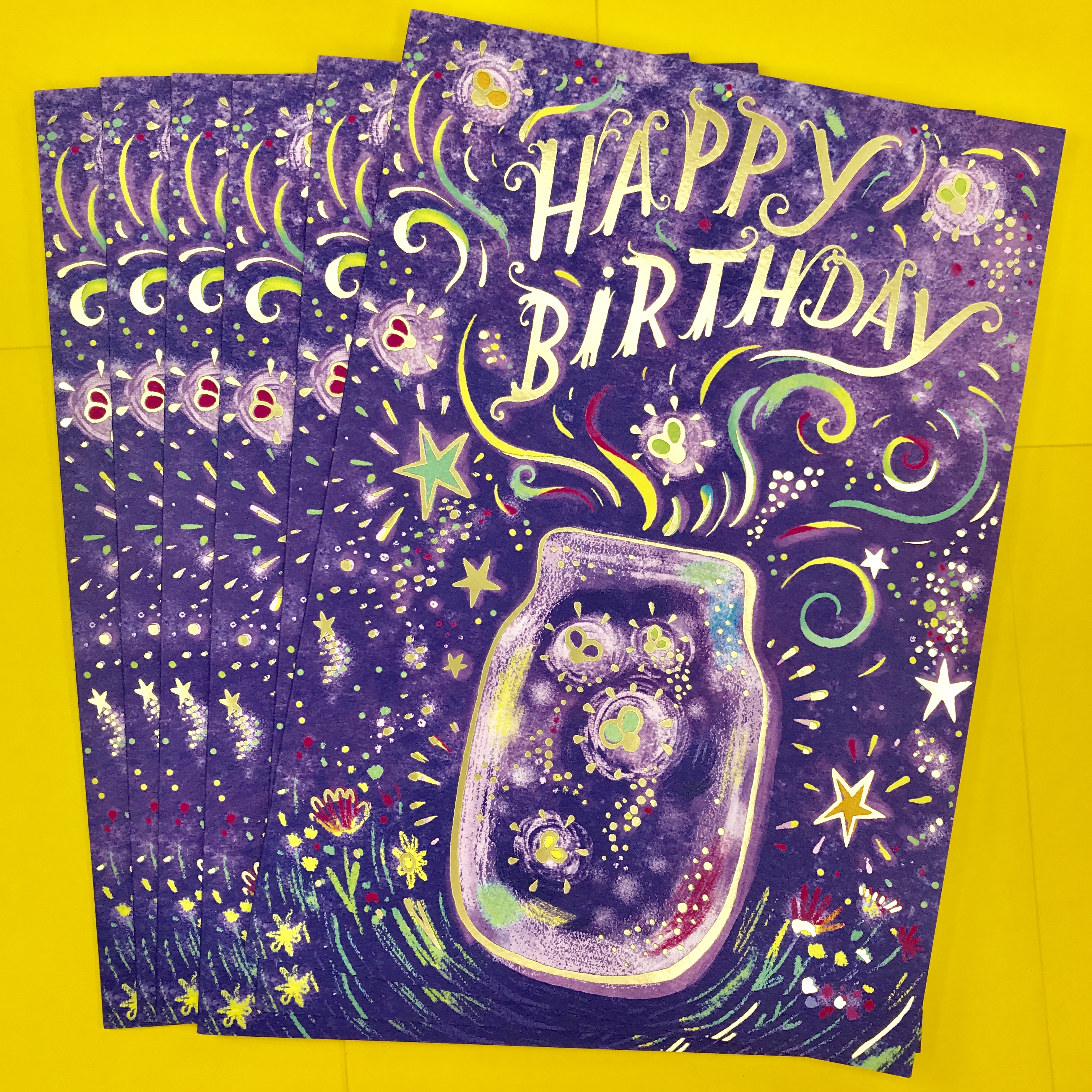 I Just Received Samples Of A New Birthday Card Designed For Sellers Publishing The Theme Is Mason Jar With Fireflies And Magic Sparkles Are Included